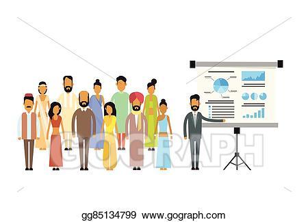 Finance clipart finance meeting. Vector art indian business