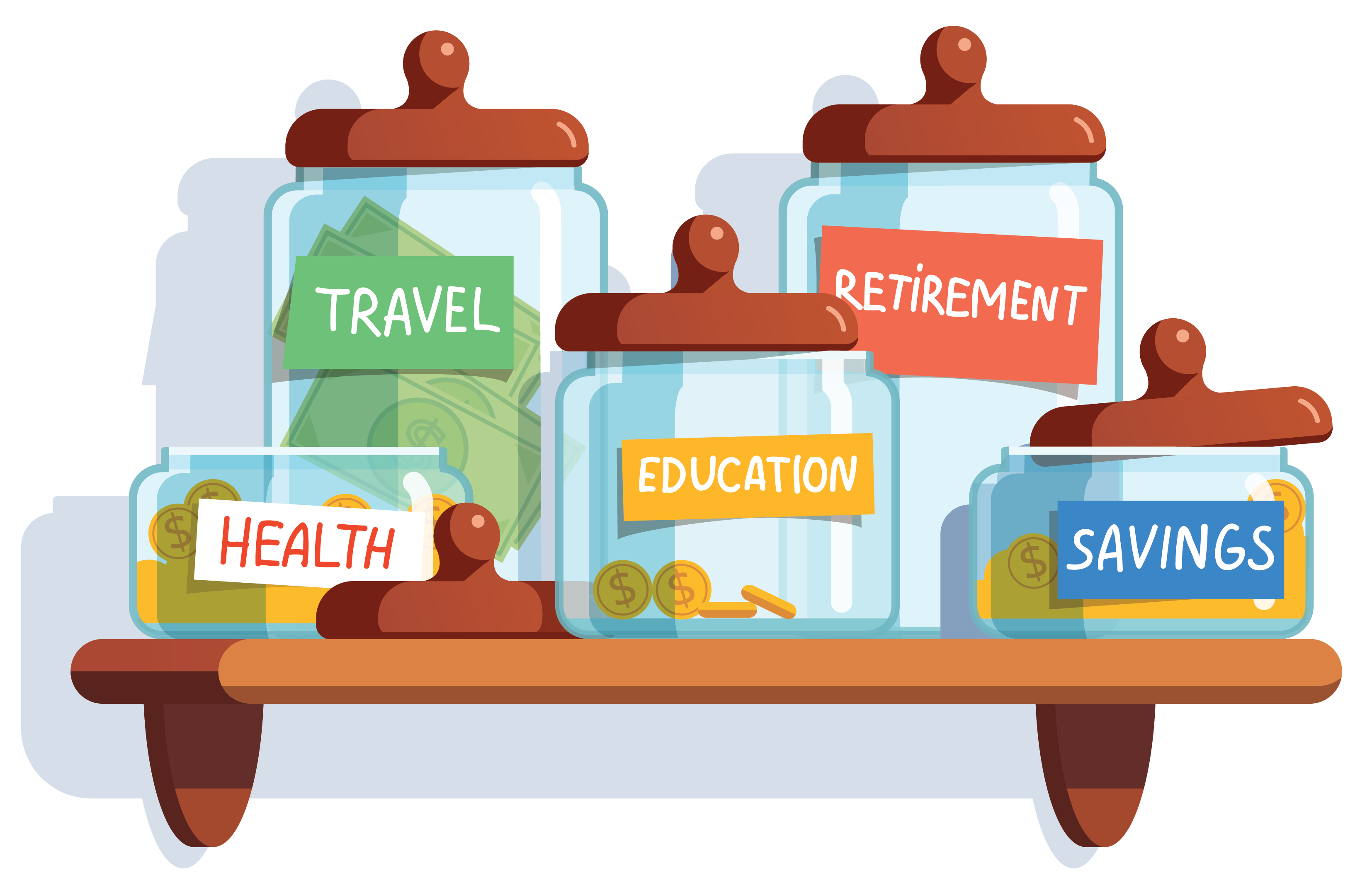 Advice savings jars. Working clipart financial advisor