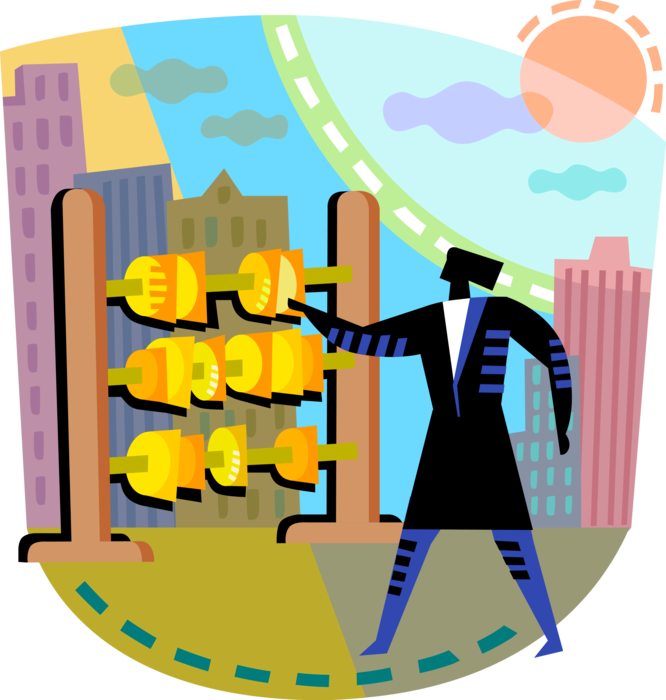 Entrepreneur auditor allocates resources. Financial clipart financial resource