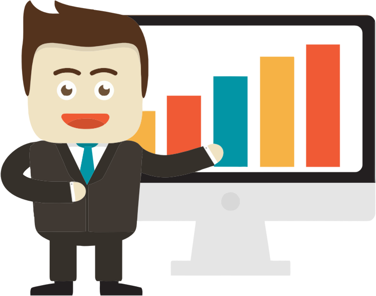 Businessman pointing to on. Graph clipart financial graph