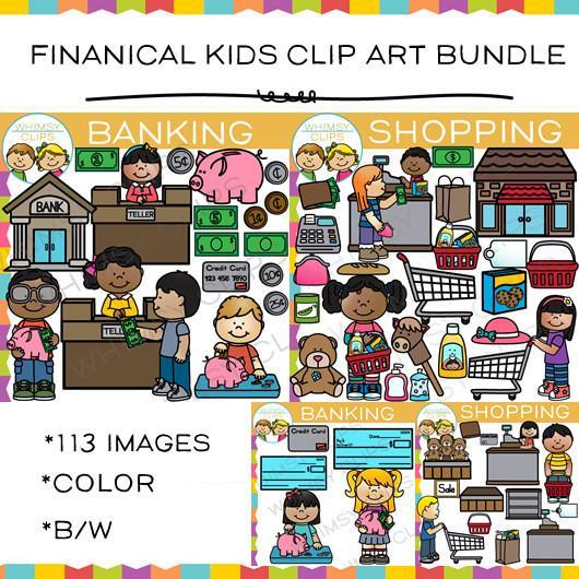 Financial clipart. Kids clip art bundle