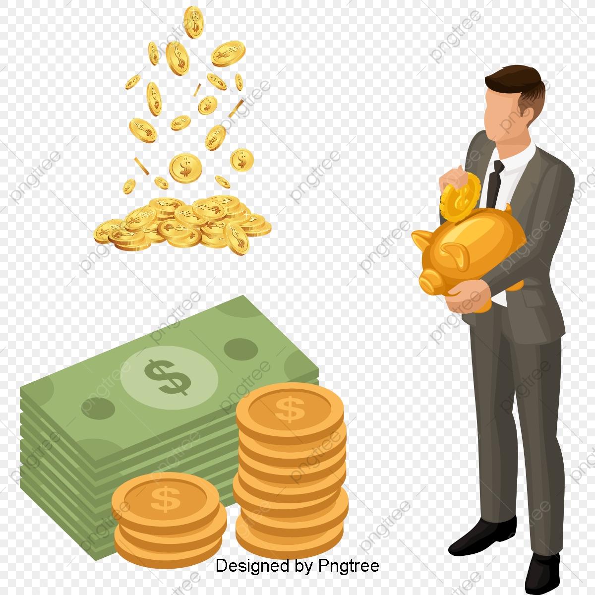 Beautiful cartoon flat money. Financial clipart cute