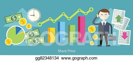 Vector share exchange concept. Financial clipart price