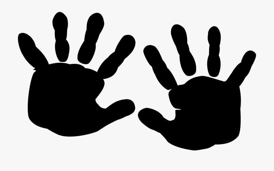 Finger printing hand black. Handprint clipart silhouette
