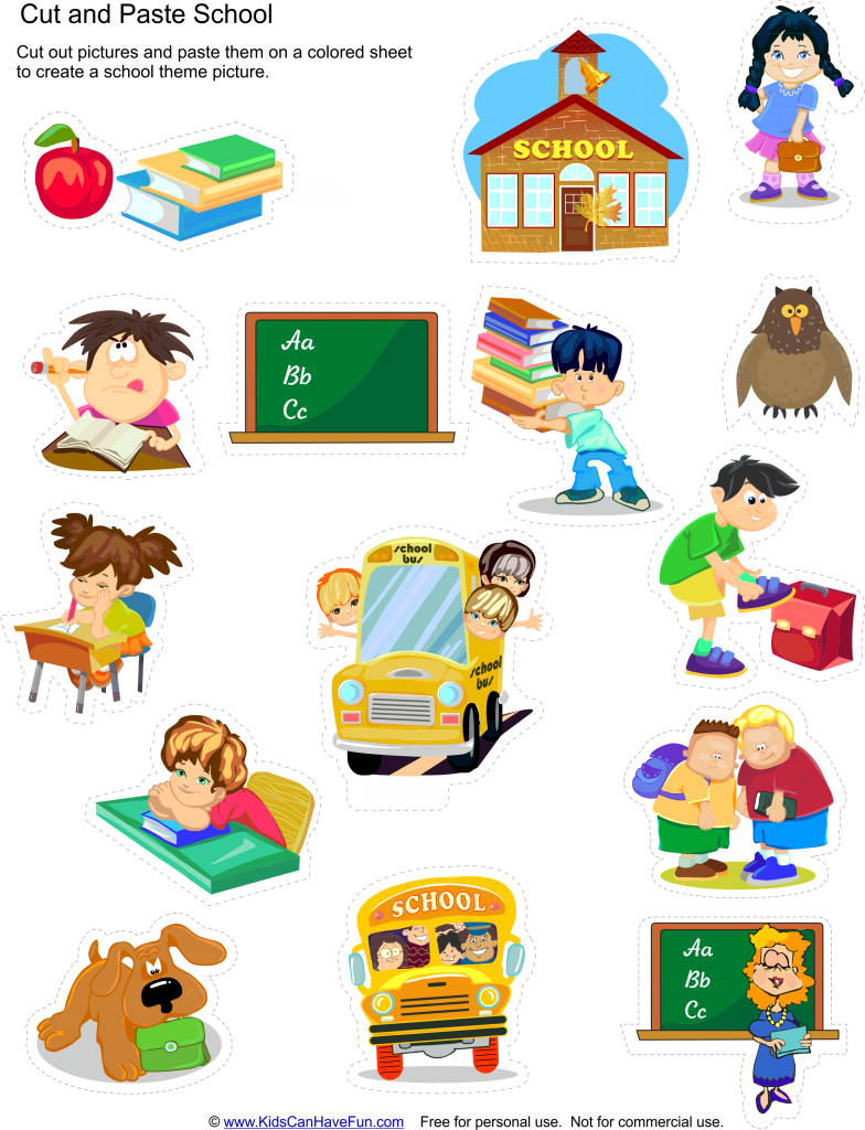Cut and paste school. Lunchbox clipart preschool classroom