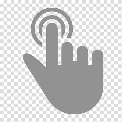 Gray hand pointing logo. Finger clipart finger tap