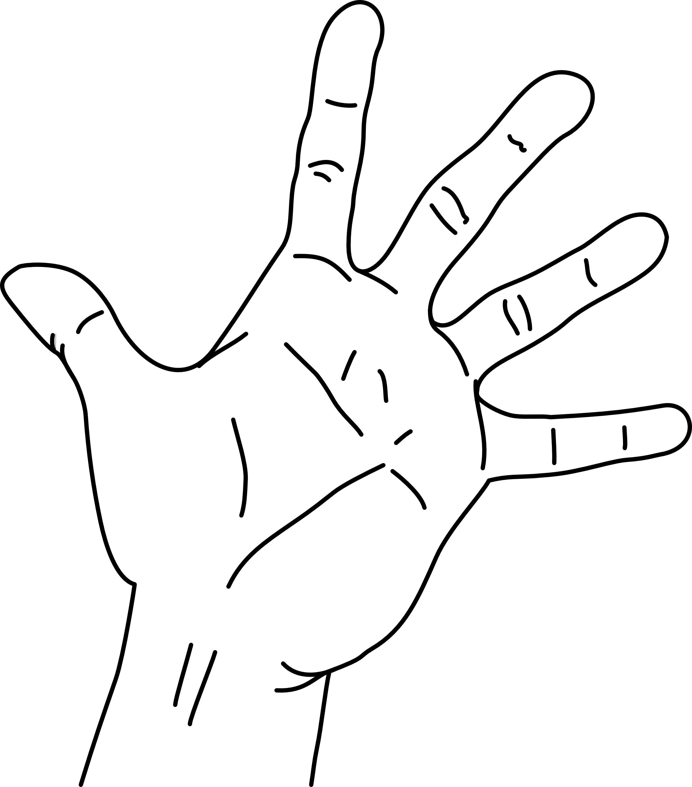 Finger clipart hand span. File measurements of the