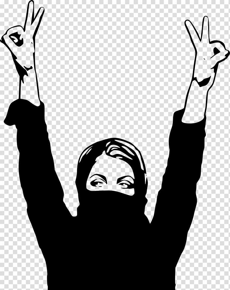 Inside the gender woman. Finger clipart jihad