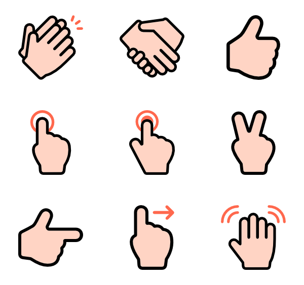 Icons free vector linear. Number 1 clipart one finger