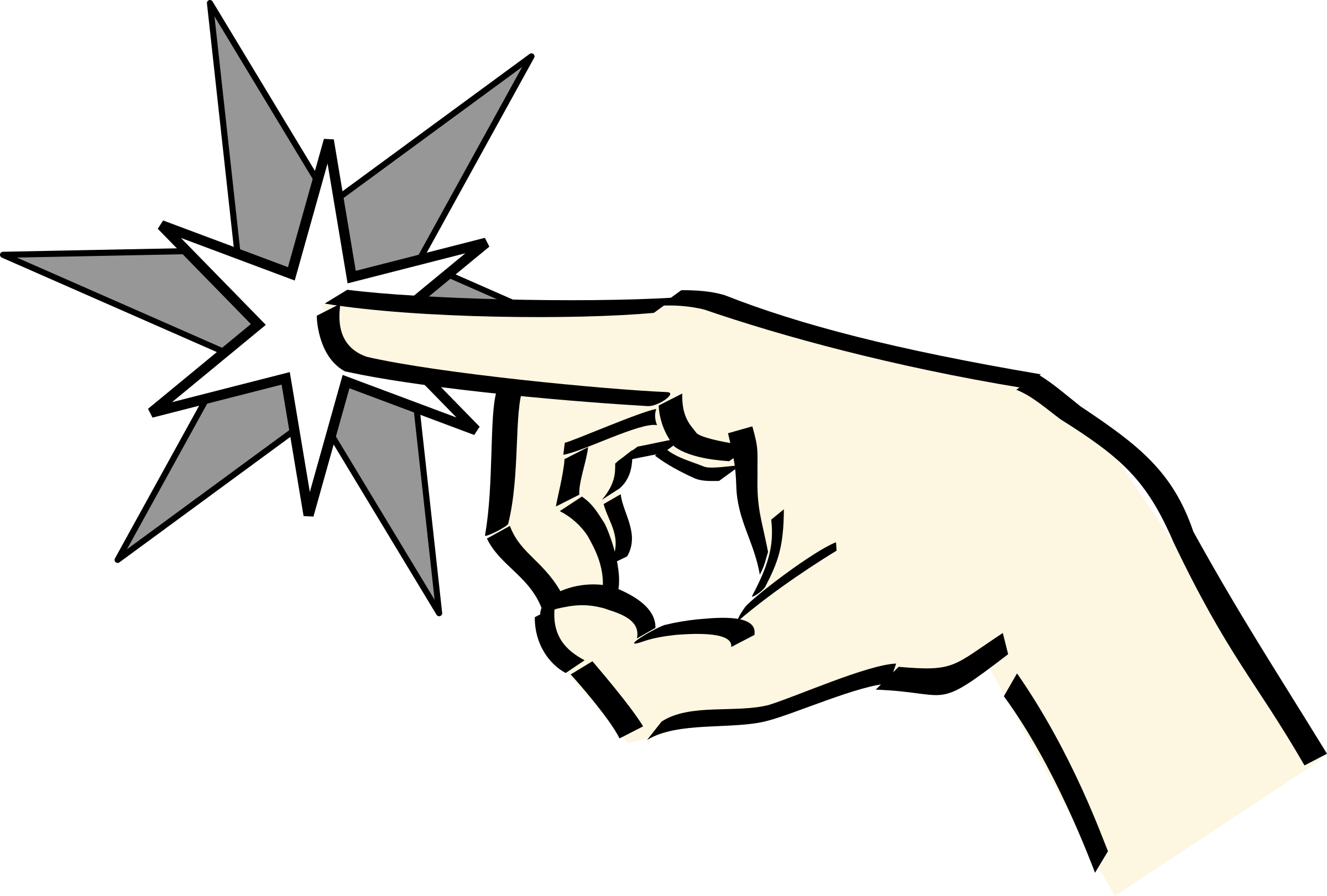 Fingers clipart left hand. Pointing at star big