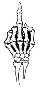 Finger clipart muddle. Skeleton shows middle vector