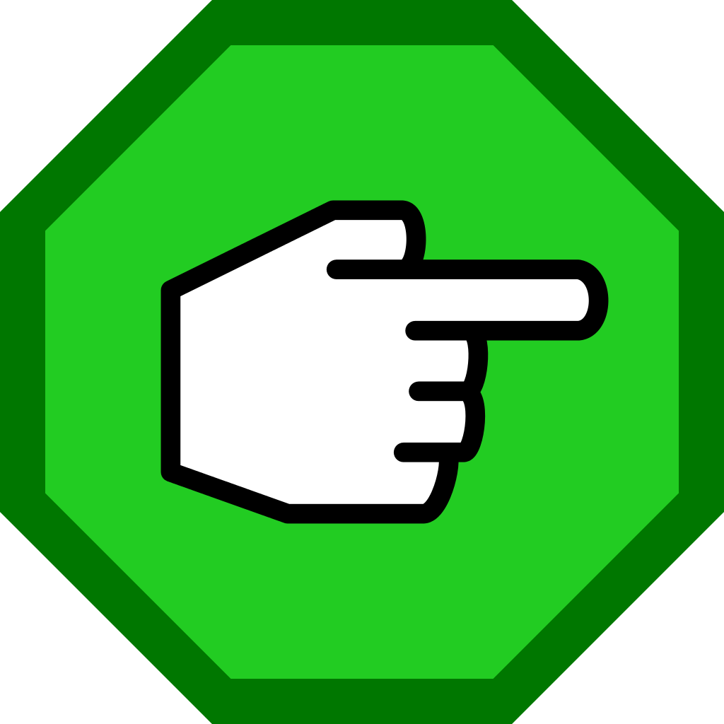 Finger clipart right hand. File pointing in green