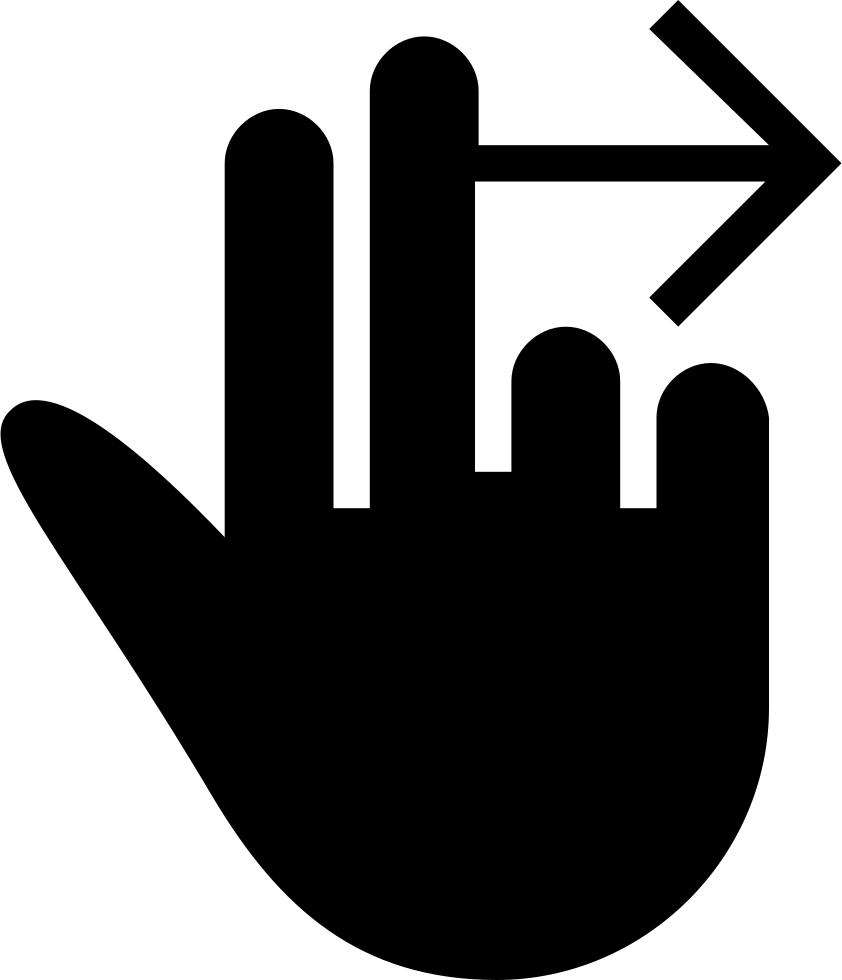 Movement clipart hand movement. Swipe right gesture of