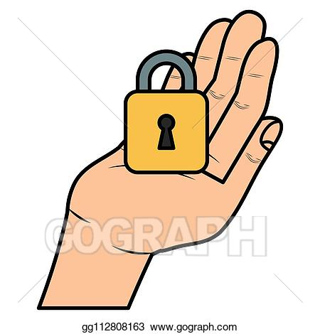 Finger clipart safe hand. Vector art with secure