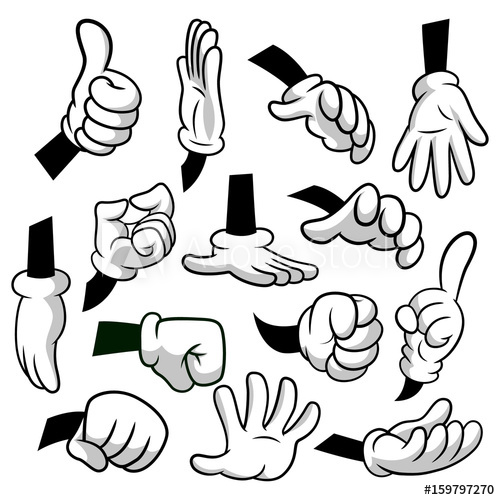 Gloves clipart cartoon. Hands with icon set