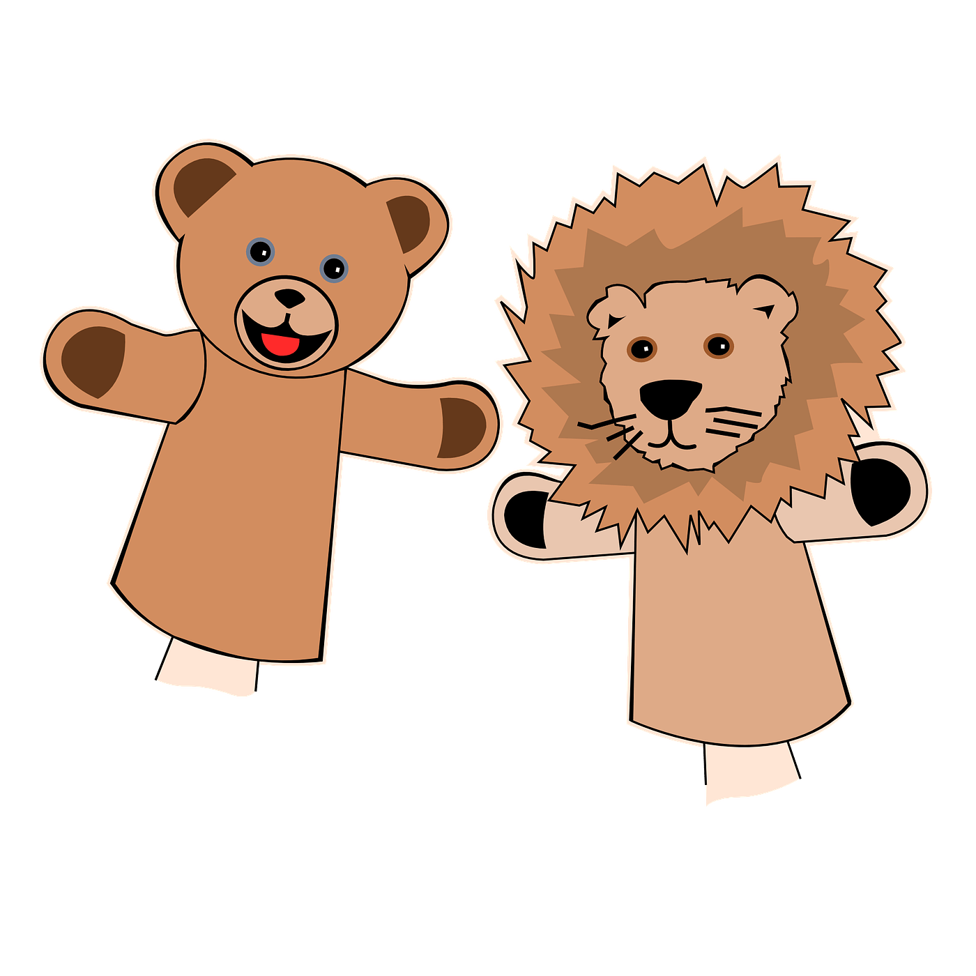 Bear and lion puppets. Finger clipart witch finger