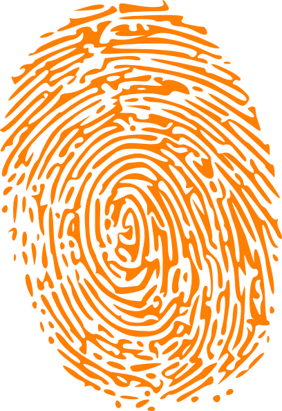 Orange clip art at. Fingerprint clipart