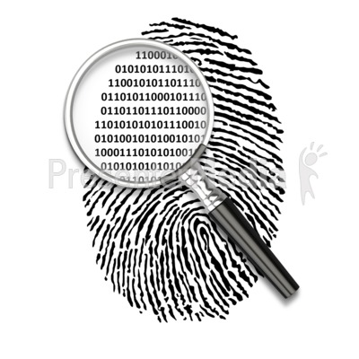 Fingerprint clipart animated. Magnify binary code science