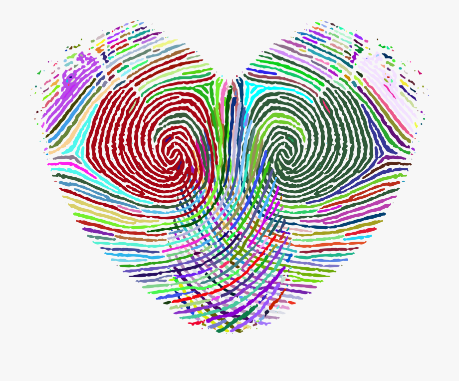 Fingerprint clipart big. Prismatic heart by gdj