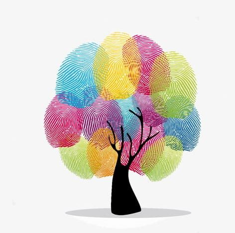 Fingerprint clipart cartoon. Tree png color decoration