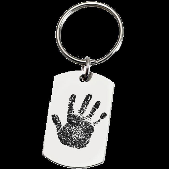Memorial key ring stainless. Fingerprint clipart large