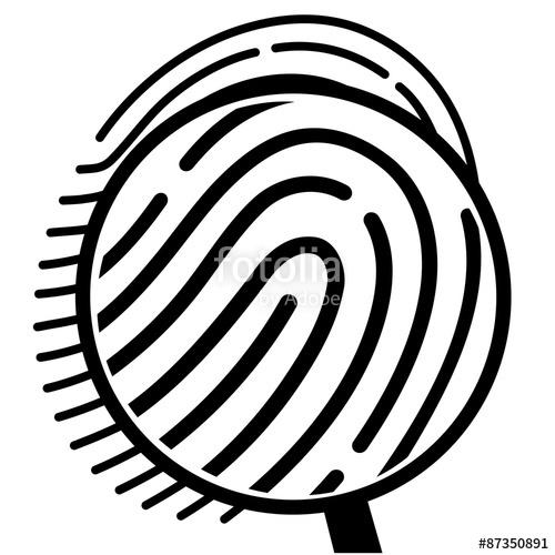 Fingerprint clipart magnifying lens. Under a glass stock