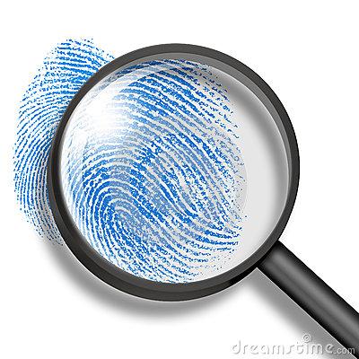 Fingerprint clipart magnifying lens. Glass with finger print