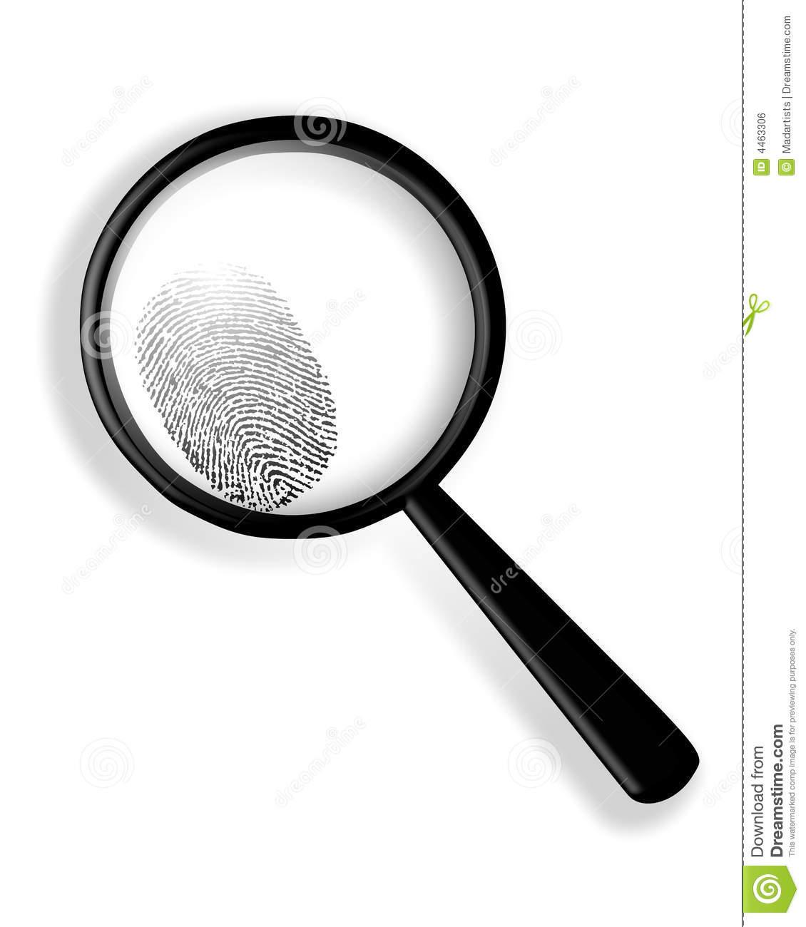 Glass with portal . Fingerprint clipart magnifying lens