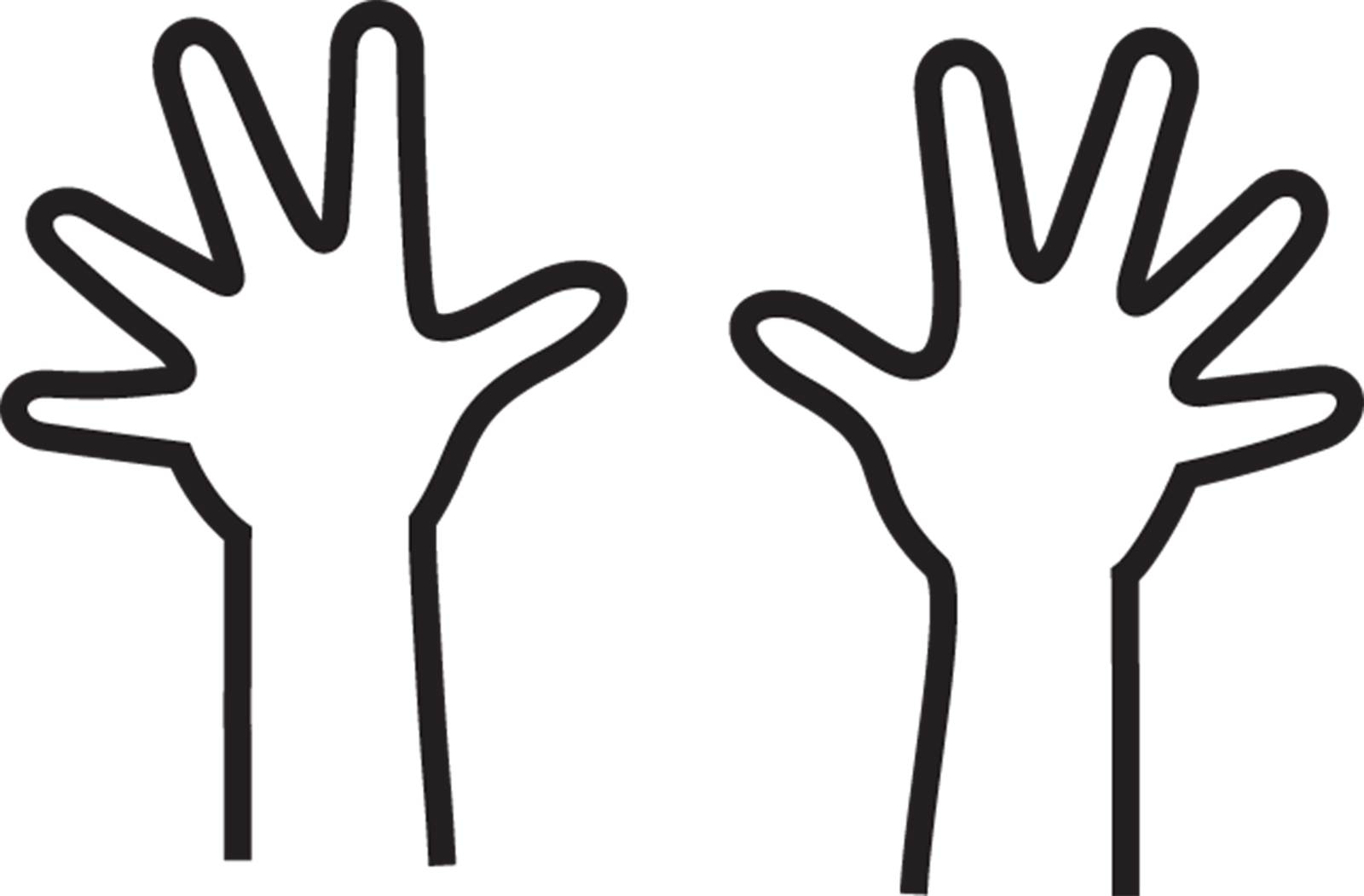 Hand outline free download. Fingers clipart coloring