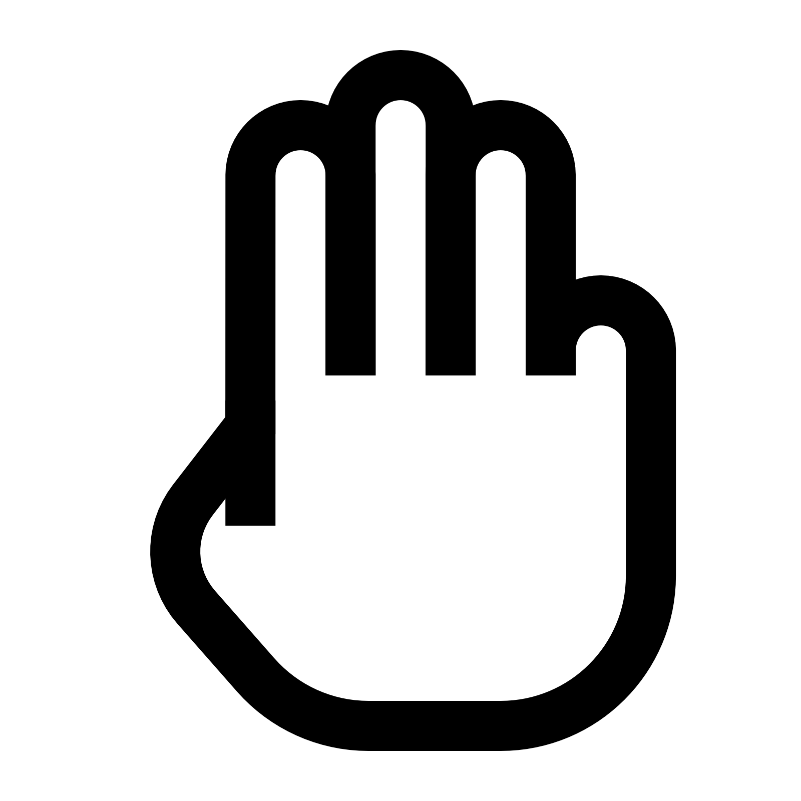 Image of a hand. Fingers clipart finger space