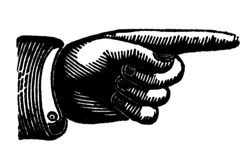 Vintage pointing finger gallery. Hand clipart self