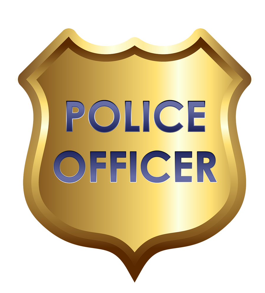 Badge for kids alphabet. Kid clipart police