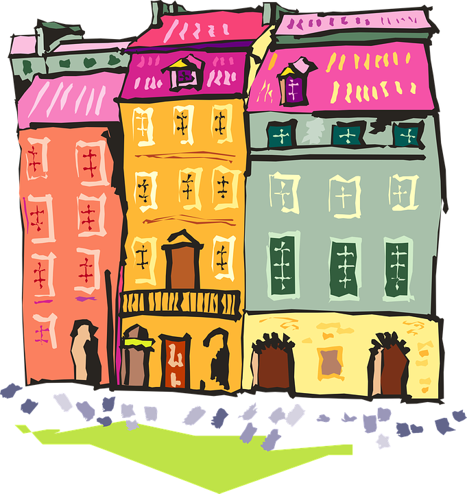 Fire clipart building. Flats colorful apartments free