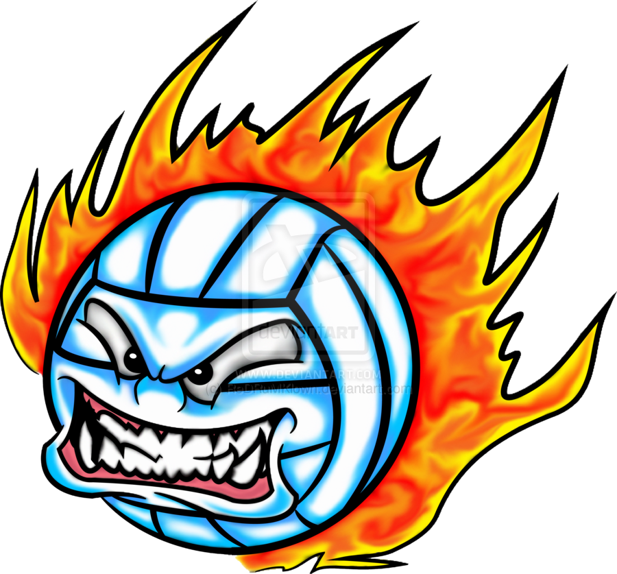 Volleyball on . Fire clipart clip art