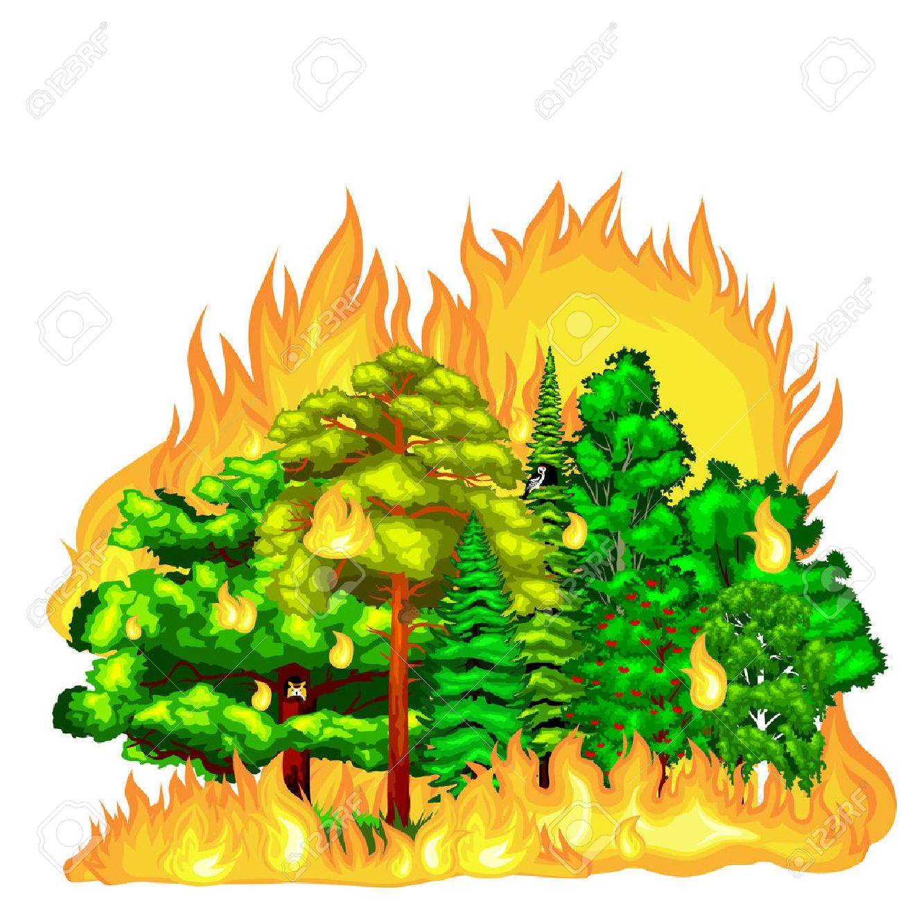 Station . Fire clipart forest fire
