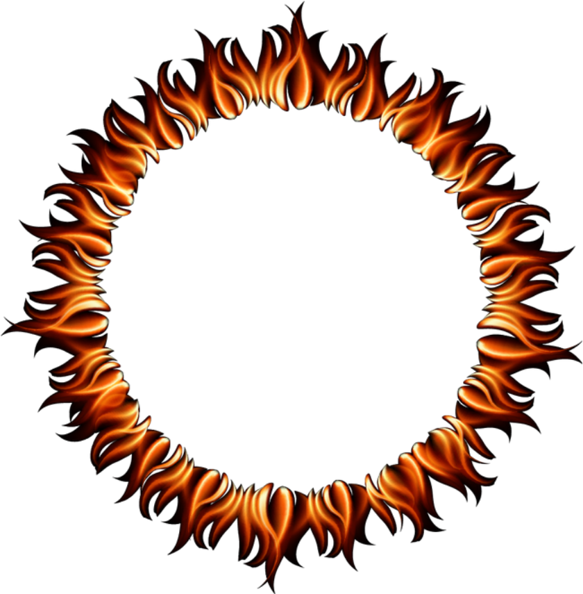 Fire clipart frame. Flames ring round circle