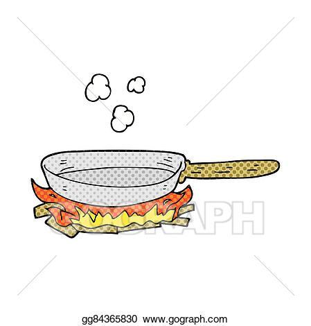Vector art cartoon frying. Pan clipart drawn