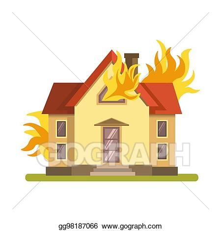Eps illustration blazing double. Fireplace clipart in house
