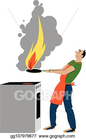 Fire clipart kitchen fire. Eps vector hazard stock