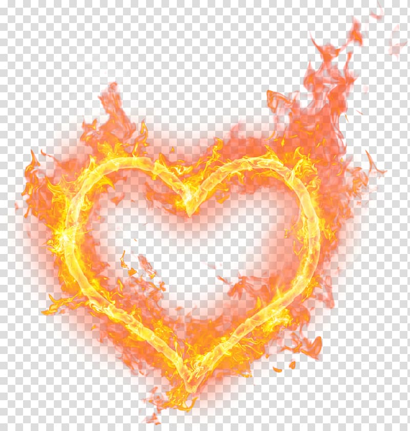 Burning heart flame watercolor. Fire clipart love