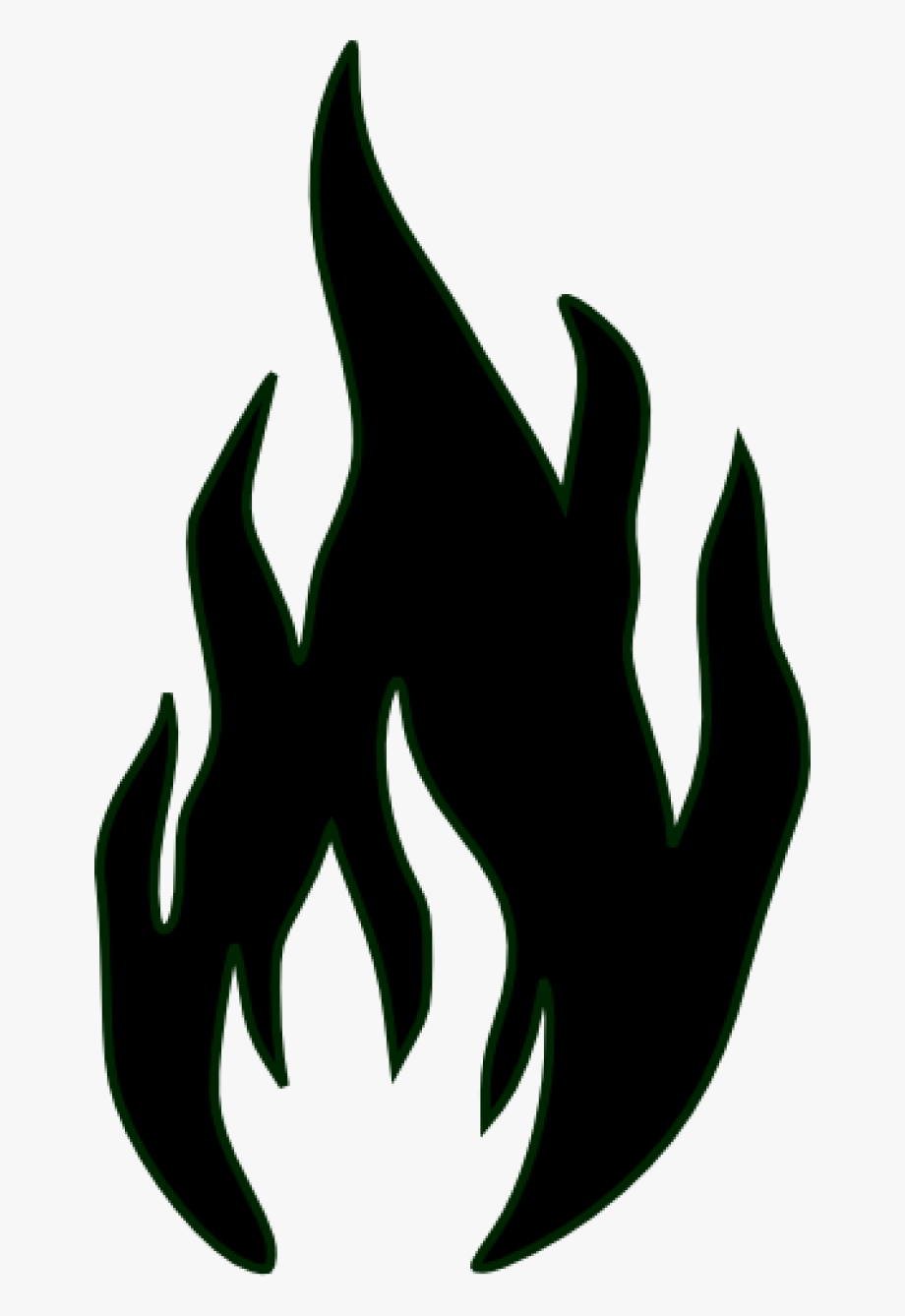 Fire flame outline . Flames clipart black and white