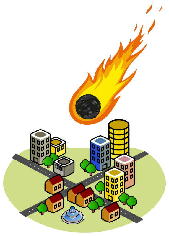 Asteroid and the city. Fireball clipart astroid