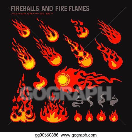 Fireball clipart flame design. Eps illustration fireballs and