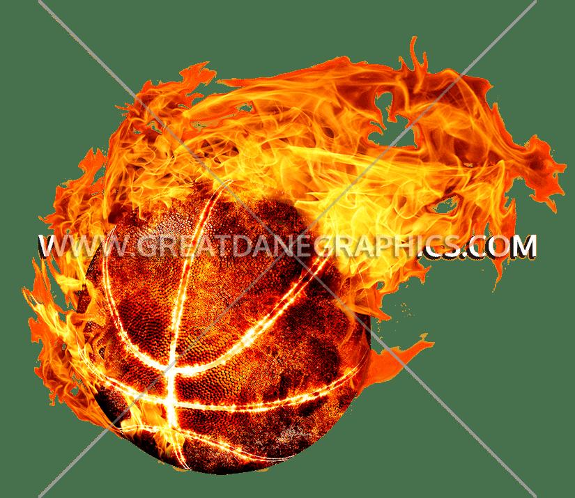 Basketball production ready artwork. Fireball clipart flame design