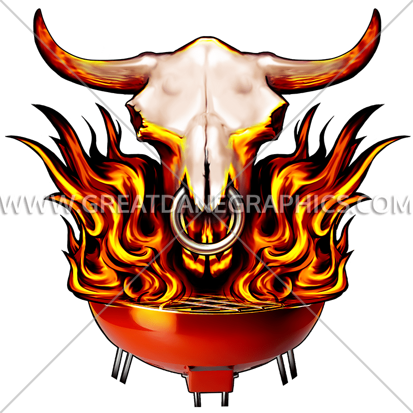 Flaming skull bbq production. Longhorn clipart embroidery