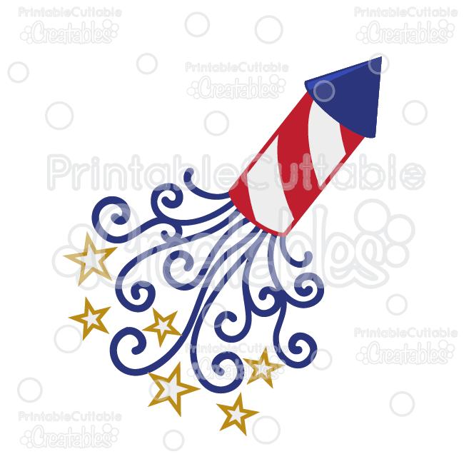 Firecracker clipart. Patriotic swirls svg cut