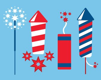 Etsy fireworks digital cut. Firecracker clipart
