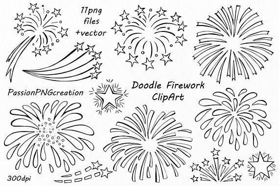 Firework vector png eps. Fireworks clipart doodle