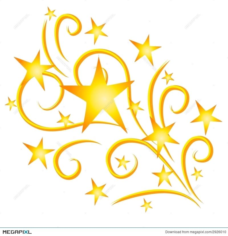 Stars fireworks gold illustration. Firecracker clipart shooting star