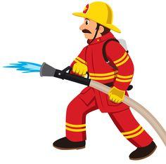 Fireman fire station house. Firefighter clipart